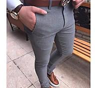 abordables -Homme basique Chino Pantalon Couleur Pleine Toute la longueur Noir Gris Clair Gris Foncé
