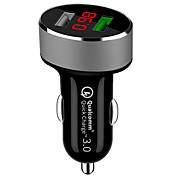 economico -qc 3.0 caricabatteria per auto dual usb caricabatteria per auto caricabatteria da auto universale usb con display tensione auto per iphone su xiaomi