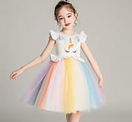 abordables -Licorne Robe Fille Cosplay de Film Cosplay Fête costumée robe de vacances Blanche Rose Robe Paillette Polyester
