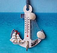 abordables -thermomètre ancre forme crochet mural bois nautique conque maison suspendus artisanat art cintre mural crochet décorations style méditerranéen