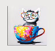 abordables -peinture à l'huile sur toile peinte à la main chat animal abstrait avec coupe au couteau décoration de la maison avec cadre peinture prêt à accrocher avec cadre étiré