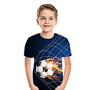 abordables -Enfants Garçon T-shirt Tee-shirts Manches Courtes Mosaïque Géométrique 3D Imprimé Enfants Nouvel an Hauts Actif Chic de Rue Bleu