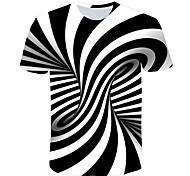 abordables -Enfants Garçon T-shirt Tee-shirts Manches Courtes Noir & Blanc Rayé Bloc de Couleur 3D Imprimé Enfants Hauts basique Chic de Rue Noir