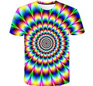 abordables -Enfants Garçon T-shirt Tee-shirts Manches Courtes à imprimé arc-en-ciel Bloc de Couleur 3D Imprimé Enfants Hauts basique Chic de Rue Rouge Vert Arc-en-ciel