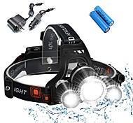 abordables -Lampes Frontales Eclairage de Vélo / bicyclette Phare Avant de Moto Imperméable Rechargeable 5000 lm LED 3 Émetteurs 4.0 Mode d'Eclairage avec Piles et Chargeurs Imperméable Rechargeable Résistant