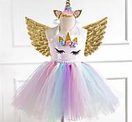 economico -Bambino Piccolo Vestito Da ragazza Arcobaleno Oro Argento Arcobaleno stile sveglio Vestitini