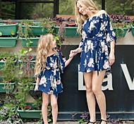 abordables -Maman et moi Lots de Vêtements pour Famille Ensemble de Vêtements Fleurie Noir Bleu Marine