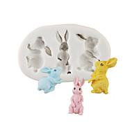 abordables -Pâques dessin animé lapin lapin moule à chocolat moule à cake moule en silicone famille fondant outils de cuisson
