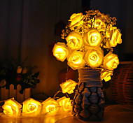 abordables -1m 10LEDs LED Rose Lumières De Noël De Vacances Guirlande Lumineuse Saint Valentin Décoration De Mariage Ampoules À Fleurs LED Lampe AA Batterie