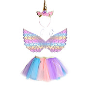 abordables -Licorne Jupe Tenue Coiffure Fille Cosplay de Film Cosplay Halloween Violet Jupes Ailes Coiffure Halloween Carnaval Mascarade Polyester