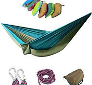 abordables -Hamac de Camping Hamac double Extérieur Portable Respirable Ultra léger (UL) Anti statique Rectangulaire Nylon Parachute avec mousquetons et sangles pour 2 personne Chasse Pêche Randonnée Jaune