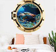 abordables -tortue sticker mural multicolore plat amovible monde sous-marin 3d pvc papier peint décorations pour la maison