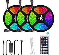 economico -3x5m Strisce luminose LED flessibili Set luci Strisce luminose RGB 450 LED SMD5050 10mm 1 telecomando da 44Keys 1 adattatore di alimentazione da 10A 1 set Multicolore Accorciabile Decorativo / 12