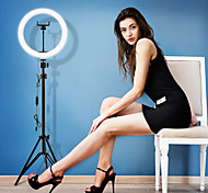 abordables -led selfie ring light 26cm dimmable camera phone ring lamp 10inch avec trépieds de table pour le maquillage vidéo live studio