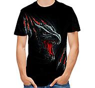 abordables -Homme T shirt 3D Bande dessinée Animal Imprimé Hauts Noir