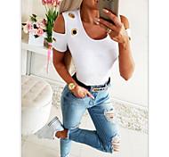 abordables -Tee-shirt Femme Quotidien Couleur Pleine Plein Manches Courtes Col Rond Hauts Mince Haut de base Coton Blanche Noir Bleu Roi