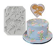 abordables -1 pcs rose fondant silicone gâteau décoration moule diy