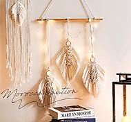 economico -Ornamento da appendere a parete in macramè intrecciato a mano bohémien boho art decor home bedroom living room decoration nordic handmade nappa cotone foglia