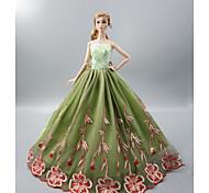 economico -Accessori della bambola Vestiti per le bambole Abito da bambola Abito da matrimonio Festa / Serata Matrimonio Da principessa Botanico floreale Tulle Pizzo Poliestere Per la bambola da 11,5 pollici