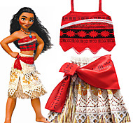 abordables -Moana Jupe Costume de Cosplay Fille Cosplay de Film Cosplay Fête costumée Rouge Jupes Haut Halloween Carnaval Mascarade Polyester