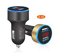 economico -caricabatteria per auto 5 v 3.1a con display a led universale doppio accendisigari per auto per xiaomi samsung s8 iphone x 8 plus tablet ecc