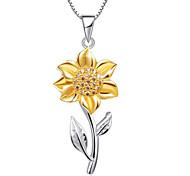economico -Per donna Collane con ciondolo Classico Fiore decorativo Di tendenza Placcato in oro Oro Marrone 45+5 cm Collana Gioielli Per