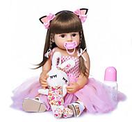 economico -NPKCOLLECTION 22 pollice Bambole Reborn Bambini Bambine Regalo Romantico Occhi marroni di impianto artificiale Silicone per tutto il corpo Silicone Gel di silice con vestiti e accessori per regali di