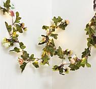 abordables -2.2m LED Rose Fleur Fée Guirlande Lumières De Vacances AA Alimenté Par Batterie Saint Valentin Événement De Mariage Fête Guirlande Décor Flexible Cuivre Guirlande Lumières 20LEDs