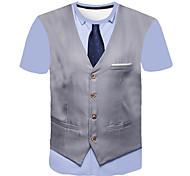 abordables -Homme T-shirt Impression 3D Graphique Abstrait 3D Imprimé Manches Courtes Sortie Hauts Entreprise Chic de Rue Vin Gris Clair Bleu Marine
