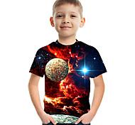 abordables -Enfants Garçon T-shirt Tee-shirts Manches Courtes Espace Impression 3D Graphique Bloc de Couleur Col ras du cou Enfants Le Jour des enfants Hauts basique Chic de Rue Bleu Violet Rouge