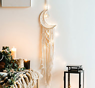 abordables -Boho dream catcher cadeau fait à la main tenture murale décor art ornement artisanat tissé macramé lune nordique 83 * 19 cm pour enfants chambre festival de mariage