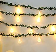 abordables -guirlande de boule de cristal led étanche 10 led feuille verte 1.5m guirlande de cristal lumière aa guirlande flexible alimentée par batterie pour le jour du mariage événement fête led décor