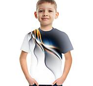 abordables -Enfants Garçon T-shirt Tee-shirts Manches Courtes Bloc de Couleur 3D Imprimé Enfants Le Jour des enfants Hauts basique Chic de Rue Blanche Violet Rouge