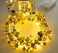abordables -3 m LED décoration de noël guirlande lumière dorée étoiles brillantes 30 LED étoiles guirlande lumineuse pour la maison mariage chambre chevet fenêtre décor lampe bricolage suspendu
