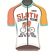 economico -21Grams Per uomo Manica corta Maglia da ciclismo Elastene Orange + bianco bradipo Animali Bicicletta Maglietta / Maglia Superiore Ciclismo da montagna Cicismo su strada Resistente ai raggi UV