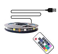 economico -1m Strisce luminose LED flessibili Strisce luminose RGB 30 LED SMD5050 10mm Telecomando a 17 tasti 1 set Multicolore Impermeabile USB Auto-adesivo 5 V