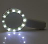 abordables -1 pcs 30x 12 led lumières à fort grossissement loupe double lentille mise à niveau loupe lampe loupe