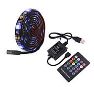 abordables -5m bandes lumineuses LED Ruban LED Flexibles Barrette d'Eclairage RGB 150 LED SMD5050 10mm Contrôleur de son de musique à 20 touches 1 set Plusieurs Couleurs Imperméable USB Auto-Adhésives 5 V