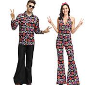 economico -Hippie Da discoteca Retrò vintage Anni '60 Hippie Anni '70 Discoteca Completi Pantaloni fluidi Tipo Funk Da coppia Per uomo Per donna Cotone Costume Viola / Arcobaleno Vintage ▾ Cosplay Senza maniche