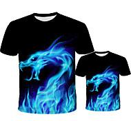 abordables -Regard de la famille Lots de Vêtements pour Famille Tee-shirts Géométrique Manches Courtes Imprimé Bleu Jaune Arc-en-ciel Nouvel an