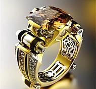 economico -Anello Classico Bianco Nero Placcato in oro Diamanti d'imitazione Fiore decorativo Alla moda 1pc 8 9 10 11 12