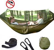 abordables -Hamac de camping avec moustiquaire escamotable Hamac double Extérieur Portable Respirable Anti-Moustique Bonne ventilation Ultra léger (UL) Nylon Parachute avec mousquetons et sangles pour 2 personne
