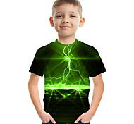 abordables -Enfants Garçon T-shirt Tee-shirts Manches Courtes Bloc de Couleur 3D Imprimé Enfants Le Jour des enfants Hauts Actif Chic de Rue Vert