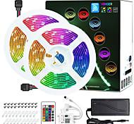 abordables -zdm 2 x 5m wifi smart led strip lights kit rgb tiktok lights 5050 bande lumière travail avec alexa google home wifi sans fil téléphone intelligent contrôlé led set 32.8ft 300 leds corde lumière 12v 4a