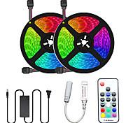 abordables -2x5M bandes lumineuses LED Ruban LED Flexibles Ensemble de Luminaires Barrette d'Eclairage RGB 300 LED SMD5050 10mm 1 adaptateur 12V 6A Télécommande 17 touches 1 set Plusieurs Couleurs Découpable Soir