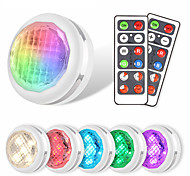 economico -6 luci 2 telecomandi luci dell'armadio a led luci dell'armadio luci notturne a led luci colorate luci dimmerabili decorazione della casa luci del sensore compresa l'installazione semplice aaa