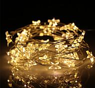abordables -5m Guirlandes Lumineuses 50 LED 1pc Blanc Chaud La Saint-Valentin Noël Intérieur Décorative Etoile Piles AA alimentées