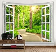 abordables -fenêtre paysage mur tapisserie art décor couverture rideau pique-nique nappe suspendu maison chambre salon dortoir décoration polyester forêt