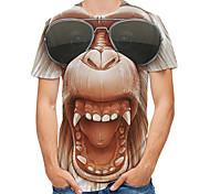 abordables -Homme T-Shirts T-shirt Impression 3D Graphique 3D Orang-outan Grandes Tailles Imprimé Manches Courtes Quotidien Hauts Roche Chic de Rue Jaune Rose Claire Marron