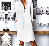 abordables -Femme Robe Droite Robe Longueur Genou Blanche Jaune Bleu Marine Manches Longues Automne Printemps Col de Chemise chaud Simple S M L XL XXL 3XL